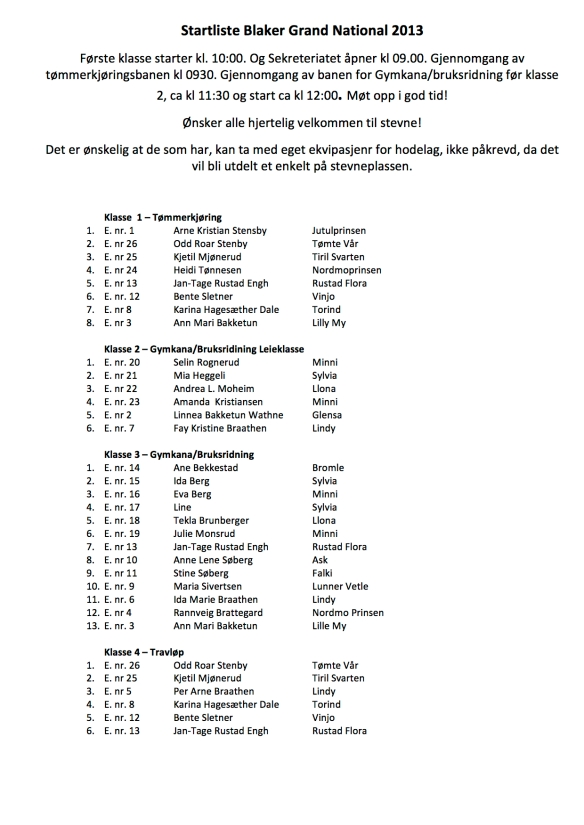 Endelig startliste BGN 2013